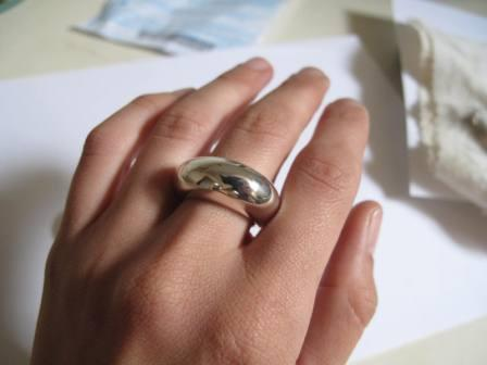 Bombastic Silver Dome Ring hand